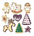 gingerbread cookies for christmas little people vector image vector image
