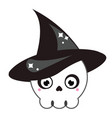 halloween cute skull in witch hat isolated icon vector image vector image
