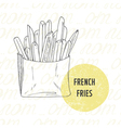 hand drawn french fries potato vector image