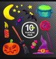 handmade plasticine set for halloween moon bat vector image