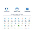 humans group society creative symbols set people vector image