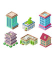 isometric 3d buildings and city houses vector image vector image
