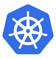 kubernetes emblem white helm on blue back vector image vector image