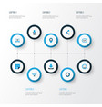 media colorful icons set collection of social web vector image vector image