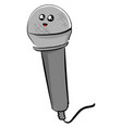 microphone with eyes on white background vector image vector image