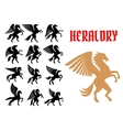 Mythical animals heraldic icons emblems vector image vector image