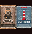 nautical lighthouse and vintage diver helmet vector image vector image