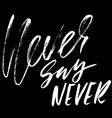 never say never hand drawn lettering vector image vector image
