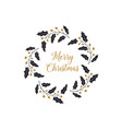 new year and christmas wreath holly berry vector image