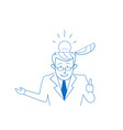 open head businessman thinking business ideas vector image