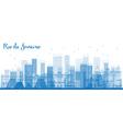 Outline Rio de Janeiro skyline with blue buildings vector image vector image