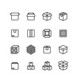 paper and wood box line icons shipping packing vector image