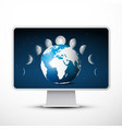 pc computer or tv - television with moon phases vector image vector image