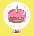 pink birthday cake with candle cake icon vector image vector image