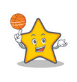 playing basketball star character cartoon style vector image vector image