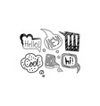 set hand drawn speech bubbles with short vector image