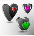 set of 3d hearts futuristic logo vector image vector image