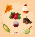 tanksgiving food set icons vector image vector image