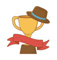 trophy with hat and ribbon vector image