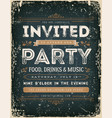 vintage invitation sign on chalkboard vector image