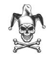 vintage monochrome jester skull vector image vector image