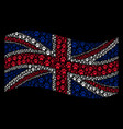 waving united kingdom flag collage of paw vector image vector image
