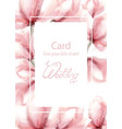 wedding card with pink flowers watercolor vector image vector image