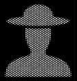 white halftone farmer person icon vector image vector image