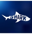 White shark silhouette with text inside Logo vector image
