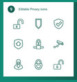 9 privacy icons vector image vector image