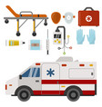 ambulance icons medicine health emergency hospital vector image vector image