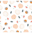 autumn pattern with pumpkins vector image