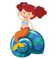 beautiful mermaid waving hand vector image