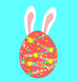 big red egg and bunny ears with colorful egg vector image