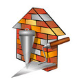 brick house and tools vector image vector image