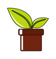 cartoon flower in pot icon on white background vector image vector image