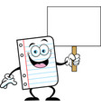 cartoon piece of notebook paper holding a sign vector image vector image