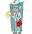 Cartoon super delivery boy with red vector image vector image