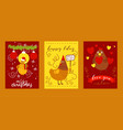 chicken set of greeting cards vector image