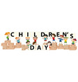childrens day theme with boys and girls vector image
