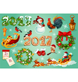 Christmas and New Year celebration poster vector image
