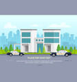 city police station on urban background - modern vector image vector image
