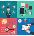 Collection of flat colorful business and finance vector image