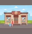 confectionery shop building facade view city vector image vector image