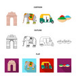 country india cartoonoutlineflat icons in set vector image