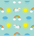 cute cartoon sun cloud with rain rainbow unicorn vector image