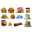 Different types of accommodations vector image vector image