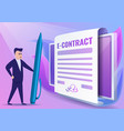 digital contract concept banner cartoon style vector image vector image