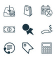 e-commerce icons set with paper bag contact info vector image