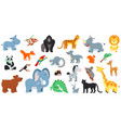 exotic forest animals cute cartoon animal zoo vector image vector image